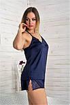 Пижама шелковая П811х Синий, фото 3