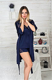 Комплект пижама + халат К811п Синий