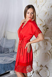 Кружевной халат шелковый Х928 Красный