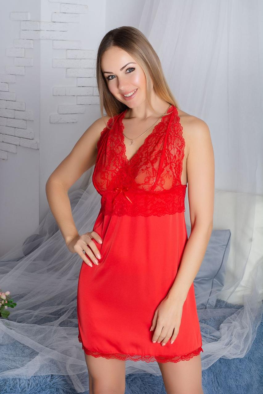 Ночная рубашка кружевная Н904 Красная