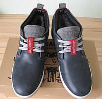 Зима! Супер качество в стиле  Levis! синие теплые мужские ботинки кожа Левис