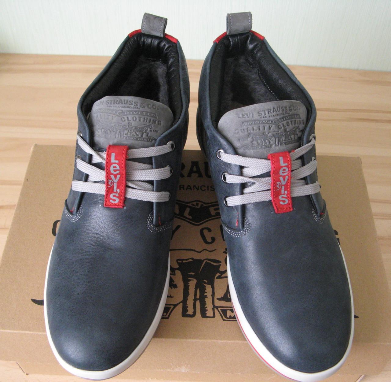 280fb0a49 Зима! Супер качество в стиле Levis! синие теплые мужские ботинки кожа Левис  - Trendy