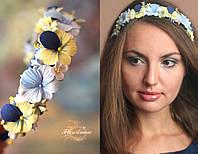 """Желто-синий обруч/веночек с цветами ручной работы """"Анютины глазки"""", фото 1"""