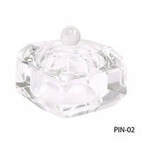 Емкость PIN-02 стеклянная для мономера с крышкой (квадратная)