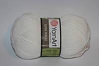 Нитки для ручного вязания, акриловая пряжа ярнарт, пряжа акрил ,белый цвет, Yarnart super perle