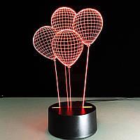 Настольный светильник I Воздушные шары 3D эффектом / 3D ночник / Идеальный подарок на 14 февраля