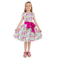 Летнее платье с розовым бантом для девочки в цветы
