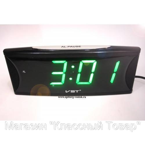 Часы электронные с будильником VST 719T-4 (зеленое табло)!Лучший подарок