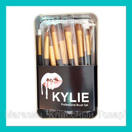 Набор кистей для макияжа Kylie большие черные 12 шт!Лучший подарок