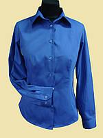 Женская блузка на длинный рукав   синего цвета, фото 1