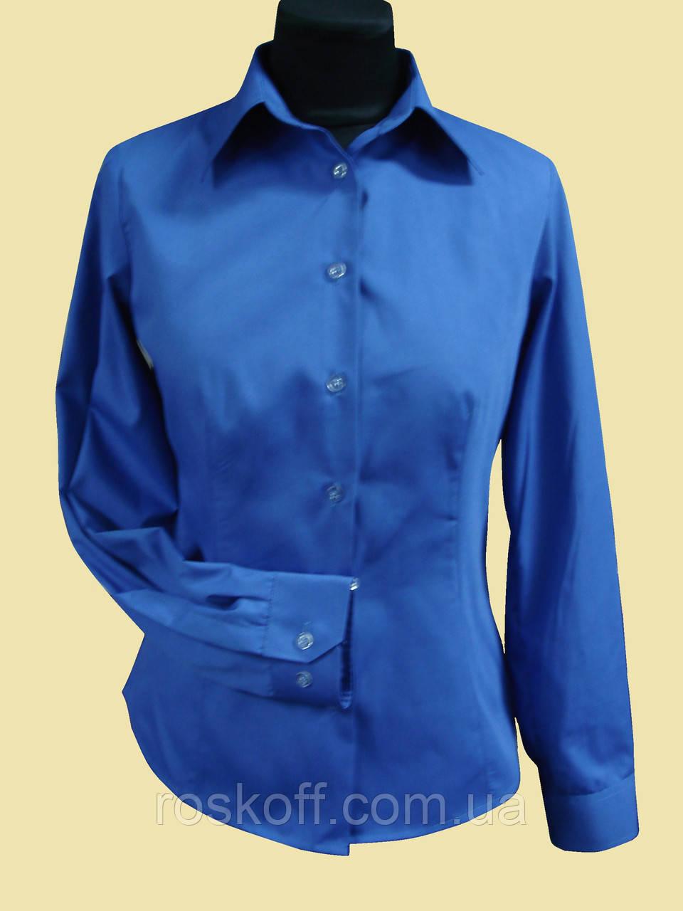 Женская блузка на длинный рукав   синего цвета