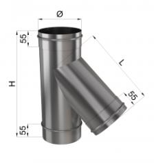 Тройник дымохода 45° нерж 0,8 мм 130мм