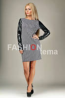 Женское платье трикотажное с эко кожей