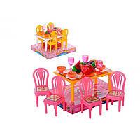 Меблі: столик,стільці 4шт,посуд,фрукти,в слюді,13х11х9см №967(180)