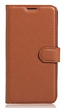 Кожаный чехол-книжка для Xiaomi Redmi note 5 коричневый