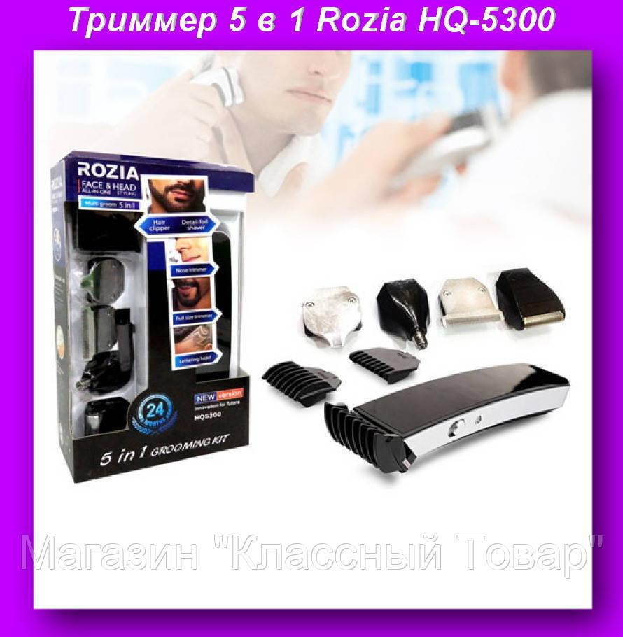 Триммер 5 в 1 Rozia HQ-5300, прибор для стрижки и удаления волос на лице, голове, в носу и ушах! Лучший