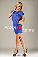 Женское платье их трикотажа синее