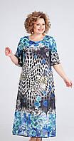 Платье Ксения стиль-1756 белорусский трикотаж, синие тона, 56