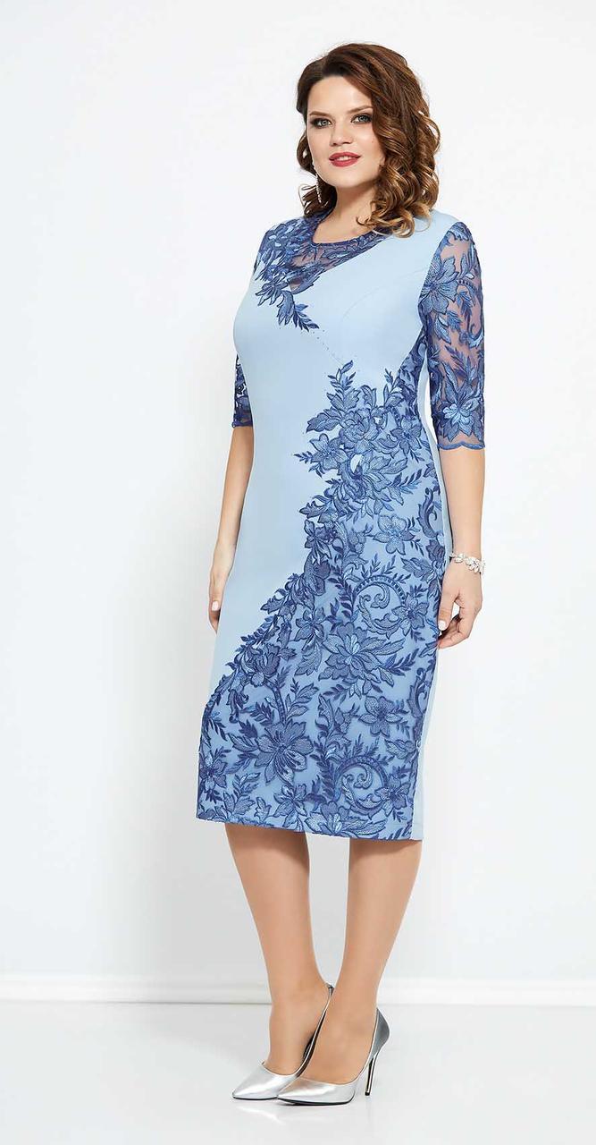 Платье Mira Fashion-4680 белорусский трикотаж, голубой, 56