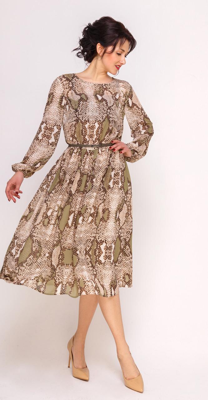 Платье Swallow-241 белорусский трикотаж, песочный со светло-зеленым, 46
