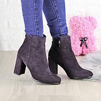 Женские ботинки на каблуке Lucky пурпурные 1428, фото 1
