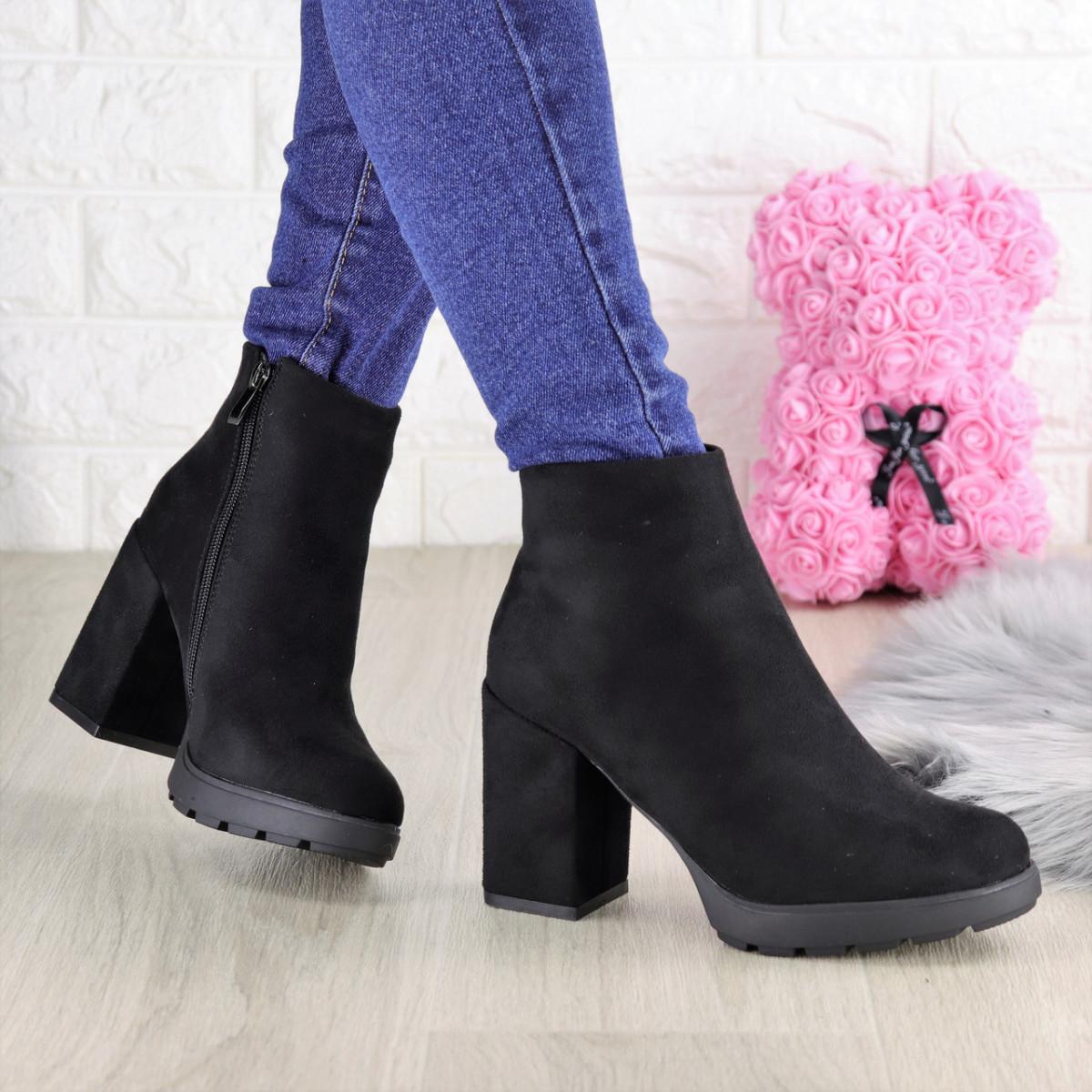 Женские ботинки на каблуке Shelby черные 1451