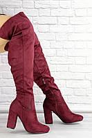 Женские ботфорты Caitlyn бордовые на каблуке 1442, фото 1