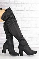 Женские ботфорты Caitlyn черные на каблуке 1427, фото 1