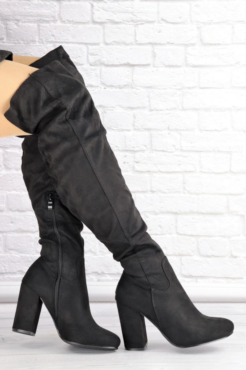 Женские ботфорты Caitlyn черные на каблуке 1427