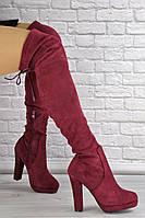 Женские ботфорты Daisy бордовые на каблуке 1437, фото 1