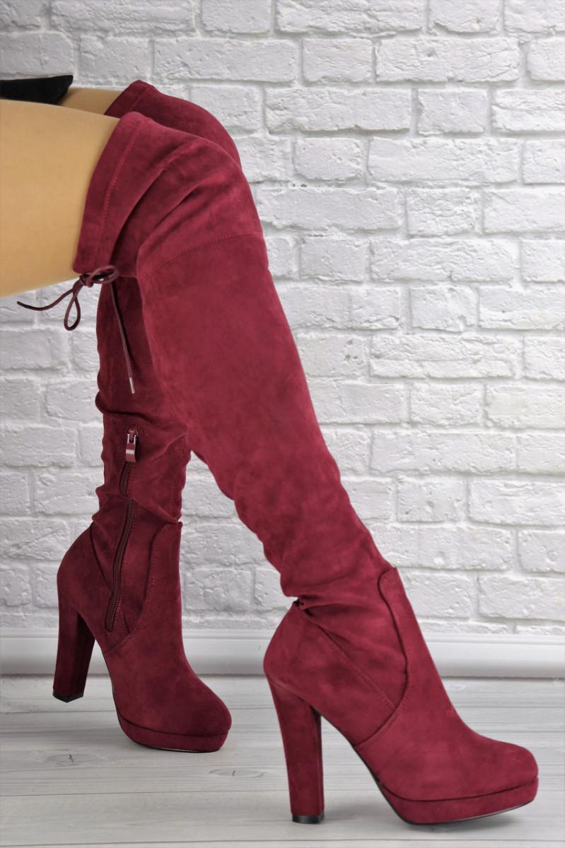 Женские ботфорты Daisy бордовые на каблуке 1437