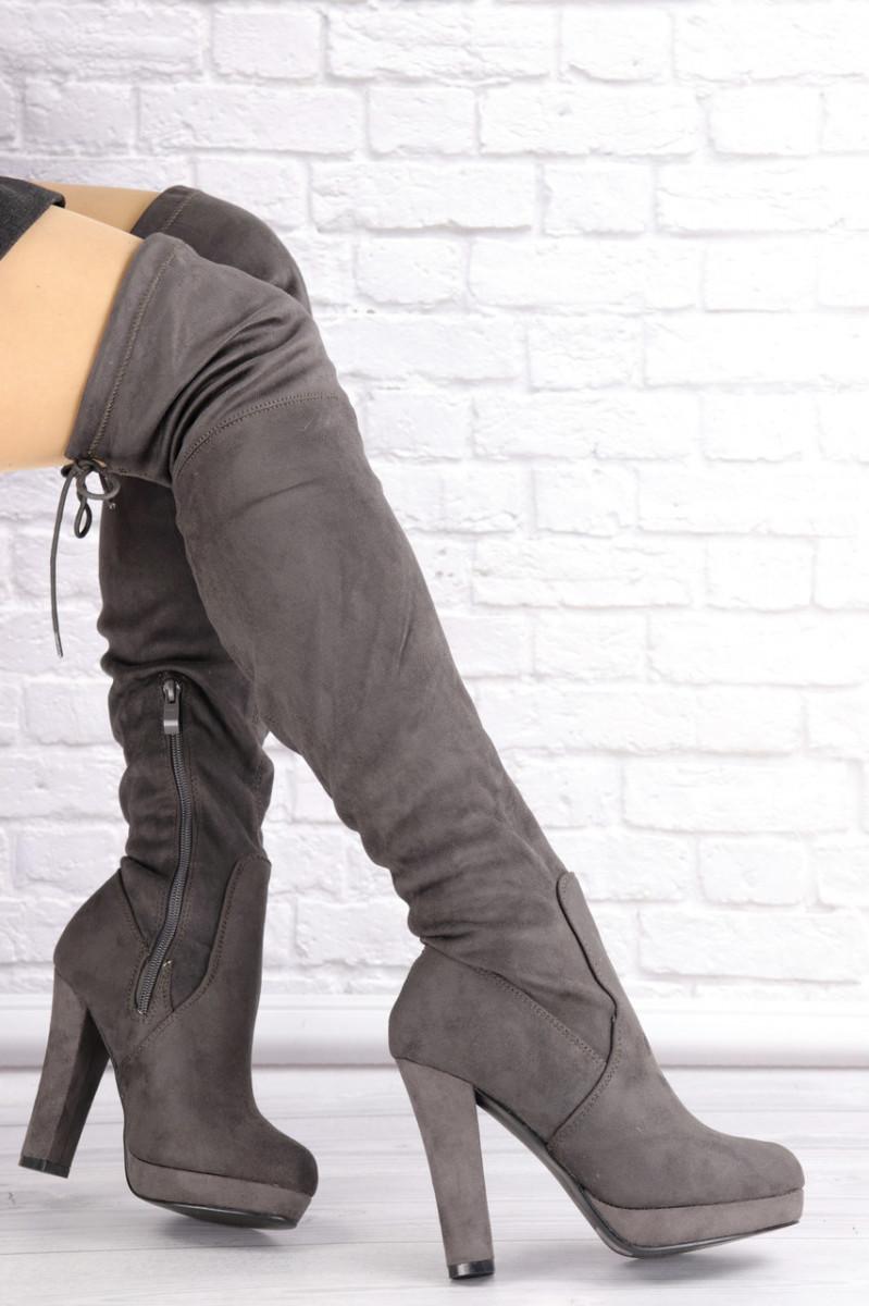 Женские ботфорты Daisy серые на каблуке 1452