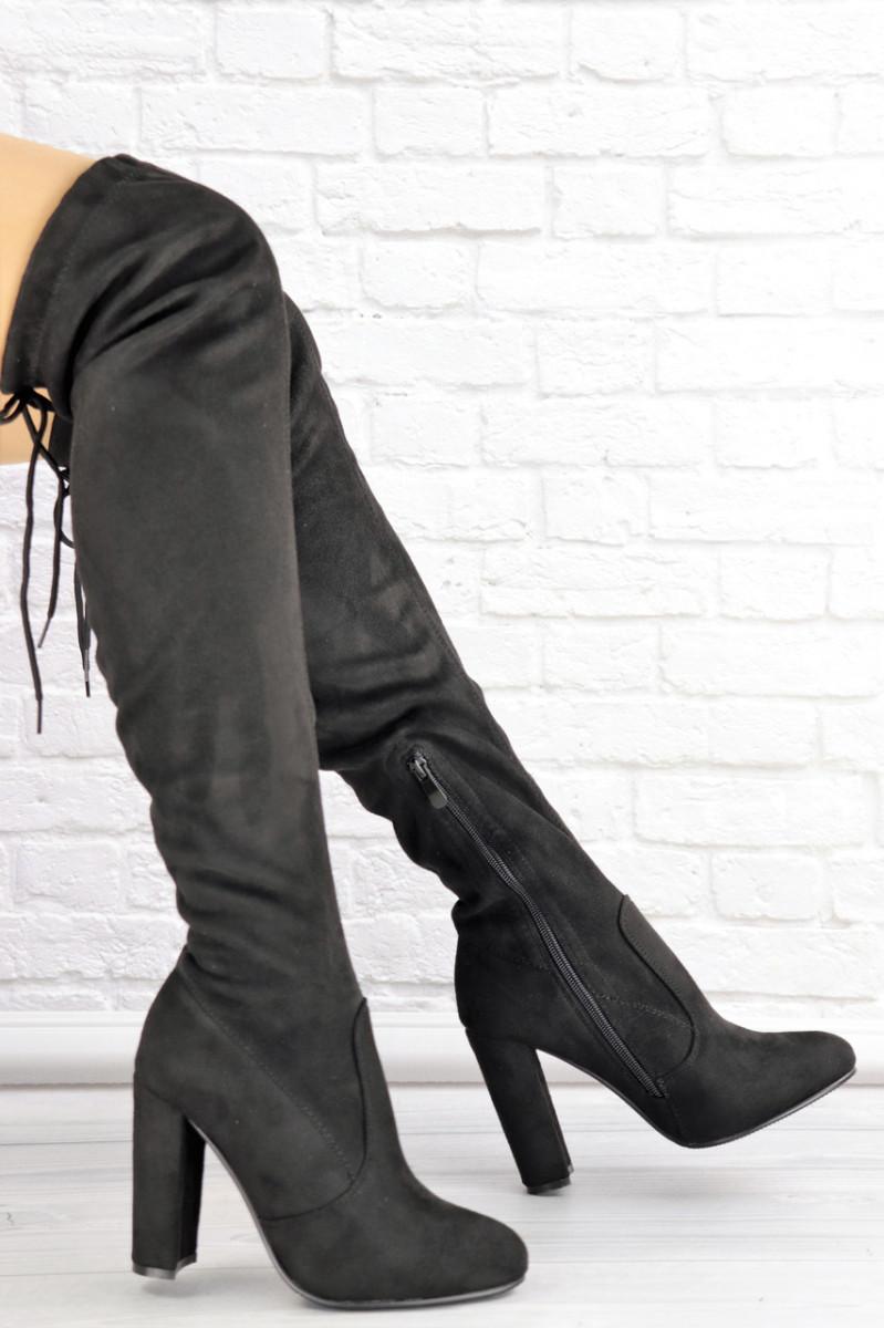 Женские ботфорты Vanilla черные на каблуке 1429