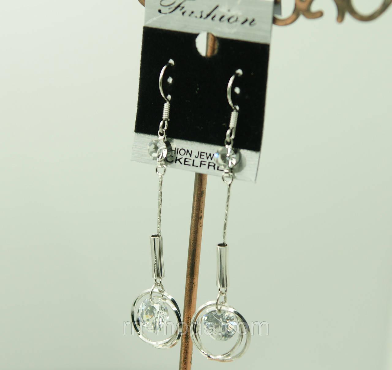 Дизайнерские серьги с круглыми кристаллами Swarovski., украшения сваровски оптом. 418