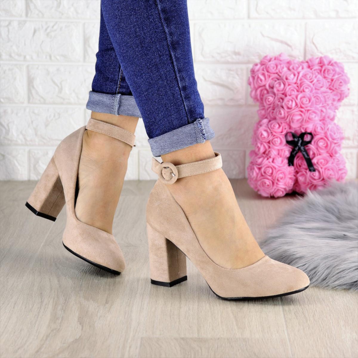 Туфли женские на каблуке бежевые Bruno 1425