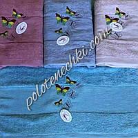 Махровое лицевое полотенце Стая бабочек