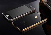 Защитное стекло TG (2 in 1) для iPhone 5/5s/5se Black Mirror переднее + заднее (черное зеркальное)