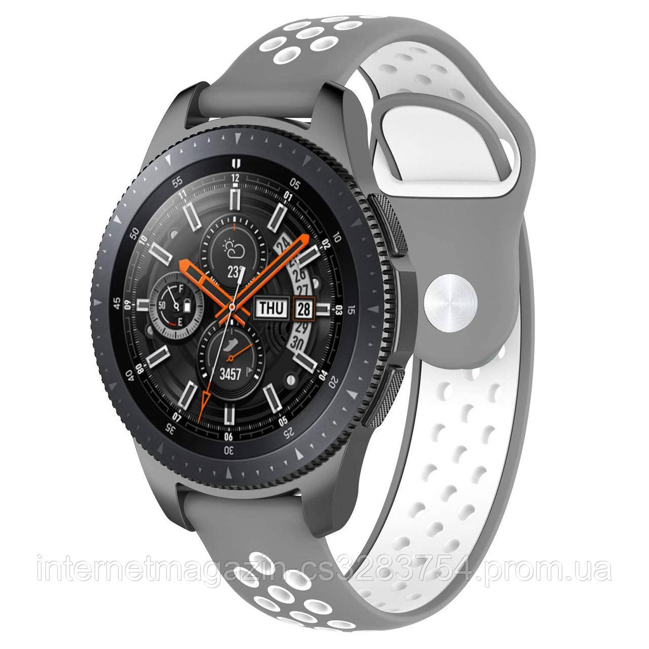 Ремінець BeWatch sport-style для Samsung Galaxy Watch 46 мм Сіро-Білий (1020142)