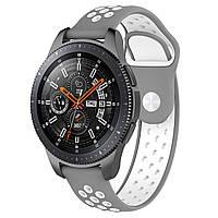 Ремінець BeWatch sport-style для Samsung Galaxy Watch 46 мм Сіро-Білий (1020142), фото 1