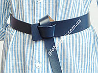 Ремень завязка женский кожаный, синий  ширина 45 мм*20 мм. 930225