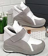 Philipp Plein весна 2020!Женские белые сникерсы ботинки Филипп плейн на танкетке с липучками, фото 1