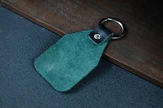 """Брелок №1 """"Бирка"""" Шкіра Італійський краст колір Зелений, фото 2"""