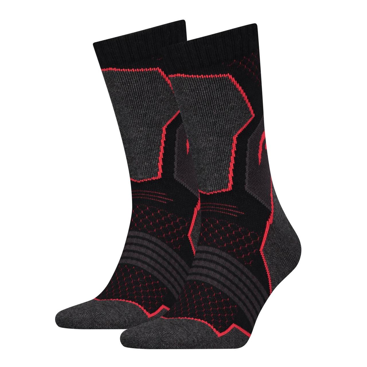 Носки Head Hiking Crew Unisex 2-pack black/red