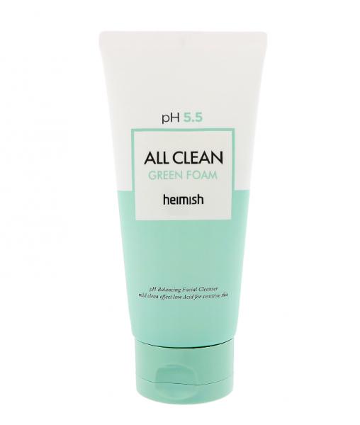 Мягкая очищающая пенка для лица Heimish All Clean Green Foam PH-5. 5 30г