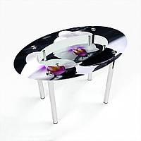 Стол обеденный на хромированных ножках Овальный с полкой Relax