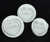 Набор Плунжер для мастики|Люблю|Рифленое сердце| 3шт.