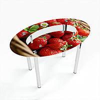 Стол обеденный на хромированных ножках Овальный с полкой Strawberry