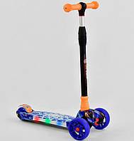Самокат для детей от 3 лет, 4 светящихся колеса, PU, платформа свет. Детский MAXI. Синий