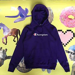 Толстовка фиолетовая Champion | худи чемпион | кенгурушка
