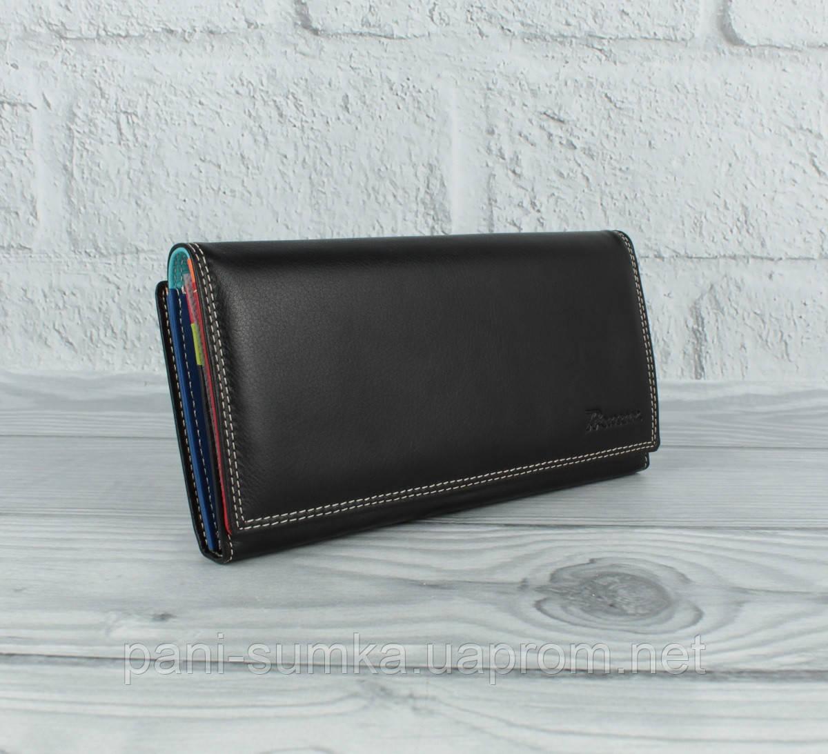 Кожаный кошелек Prensiti 122-6604 черный на кнопке, классический (монетница снаружи)